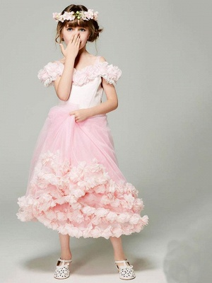 A-Line Tulle Cap Sleeve Off-The-Shoulder Flower Girl Dress