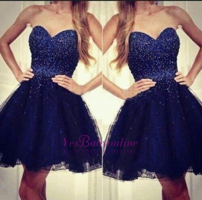 Sequins Navy-Blue Short Strapless Beading  Sweetheart Homecoming Dresses_1