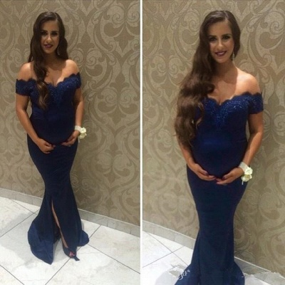 Beads Maternity Front-split Lace Sweep-Train Off-the-shoulder Newest Prom Dress_3