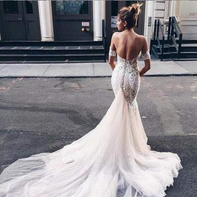 Court Train Sexy Mermaid Tulle Lace Sweetheart Backless Wedding Dress_3