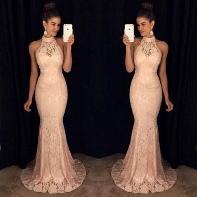 Lace Elegant Mermaid High-Neck Sleeveless Sweep-Train Prom Dress_3