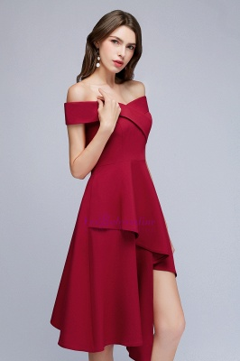Cheap A-line Asymmetrical Short Off-the-shoulder Burgundy Prom Dress in Stock_6