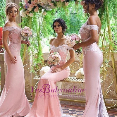 Elegant Blushing Pink Bridesmaid Dress Off-the-Shoulder Long Lace Appliques Maid of Honor Dresses_1