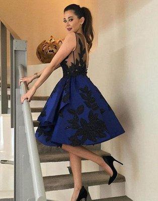 Lace A-line Knee-length Applique Dark-blue Evening Dress_3