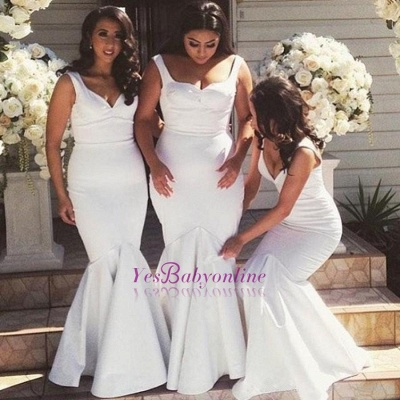 White Simple Floor-Length Sexy Mermaid Gorgeous Straps Cheap Bridesmaid Dress_1