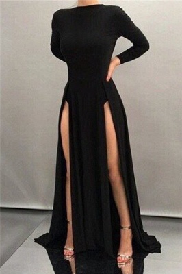 Sheath Front-splits Black High-neck Sleeves Sexy Long Evening Dresses_2
