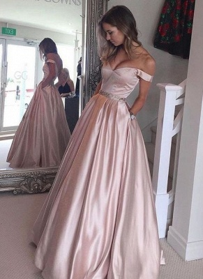2019 Pearl Pink Prom Dresses Off-the-Shoulder Beading with Pockets Puffy Formal Gowns_2
