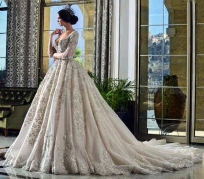 A-Line Lace V-Neck Wedding Dress | 3/4 Sleeves Appliques Cathedral Train Bridal Dress_4