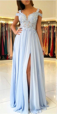 A-line Long Slit Prom Dresses | Appliques Spaghetti Evening Gowns_1