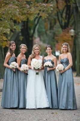 Sleeveless Sweetheart Blue Chic Long Bridesmaid Dresses_2