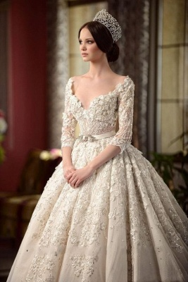 A-Line Lace V-Neck Wedding Dress | 3/4 Sleeves Appliques Cathedral Train Bridal Dress_1