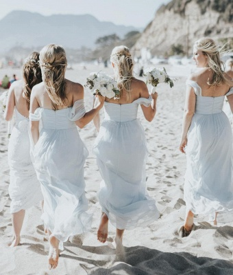 Elegent Off The Shoulder Long Bridesmaid Dress   Chiffon Full Length Wedding Party Dresses_3