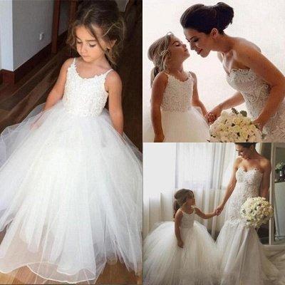 Lovely White Girl Party Dresses | Spaghetti Straps Tulle Flower Girl Dresses_4