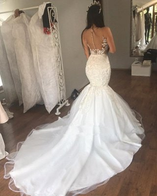 Glamorous Mermaid Buttons Lace Sleeveless Long Wedding Dress_3