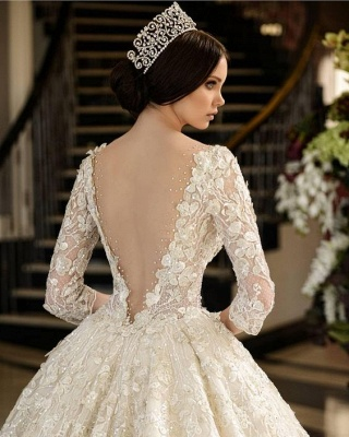 A-Line Lace V-Neck Wedding Dress | 3/4 Sleeves Appliques Cathedral Train Bridal Dress_3