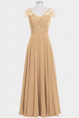 A Line Chiffon Lace Cap Sleeves Floor Length Bridesmaid Dresses_4