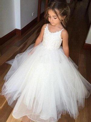 Lovely White Girl Party Dresses | Spaghetti Straps Tulle Flower Girl Dresses_1