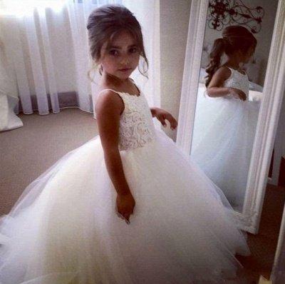 Lovely White Girl Party Dresses | Spaghetti Straps Tulle Flower Girl Dresses_3