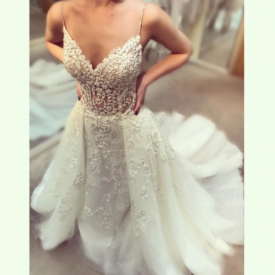 Glamorous Beading Wedding Dresses with Overskirt | Spaghettis Straps Puffy Bridal Gowns_3