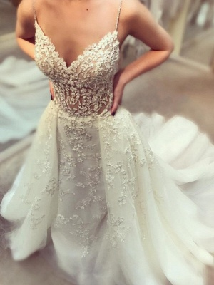 Glamorous Beading Wedding Dresses with Overskirt | Spaghettis Straps Puffy Bridal Gowns_1