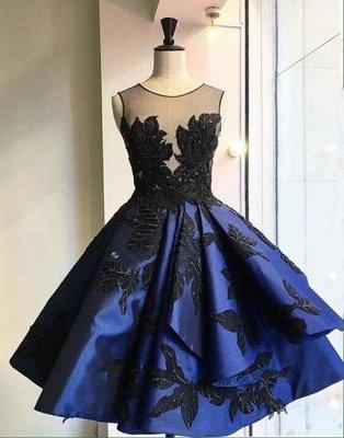 Lace A-line Knee-length Applique Dark-blue Evening Dress_4