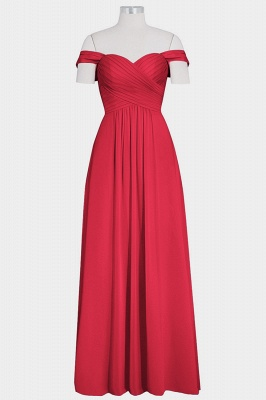 A Line Chiffon Off-the-Shoulder Sweetheart Floor Length Bridesmaid Dresses_4