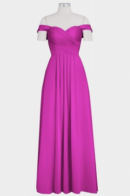 A Line Chiffon Off-the-Shoulder Sweetheart Floor Length Bridesmaid Dresses_5