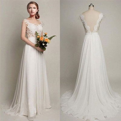 Straps A-line Simple Lace Backless Sweep Train Wedding Dress_3