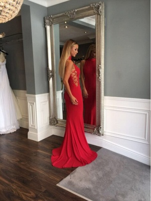 Mermaid Sleeveless Sweep-Train High-Neck Modern Red Prom Dress_5