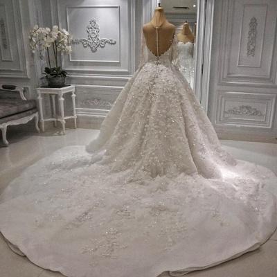 Jewel Long Sleeve Applique Beaded Ruffles Ball Gown Wedding Dresses_3