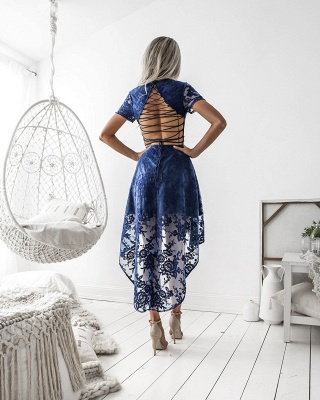 Delicate Lace Short Sleeve Homecoming Dress | Hi-Lo A-line Short Party Gown_3