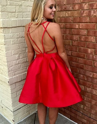 Red Simple Sleeveless V-neck Short A-line Evening Dress_3