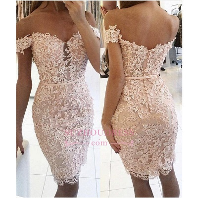 Off-the-Shoulder Homecoming Dress Elegant Lace Beaded Sheath Cocktail Dress_1