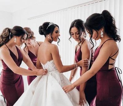 Spaghetti Straps Deep V-neck Sexy Bridesmaid Dress | Cheap Open Back Maid of Honor Dress_4