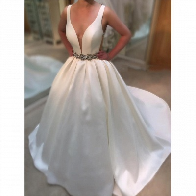 Princess Ball Gown Deep-V-Neck Wedding Dresses | Beading Open-Back Straps Bridal Gowns_3