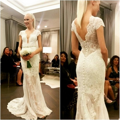 Glamorous Designer Floor-Length Button Lace Cap-Sleeve Wedding Dress_3