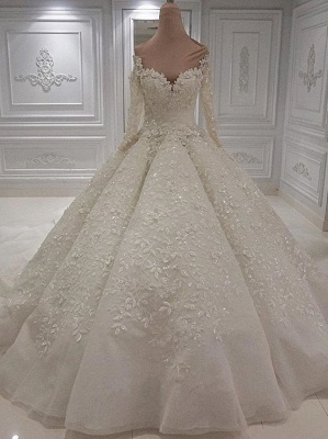 Jewel Long Sleeve Applique Beaded Ruffles Ball Gown Wedding Dresses_4