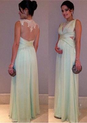 Long  Lace Sleeveless Elegant Maternity A-line Prom Dress_2