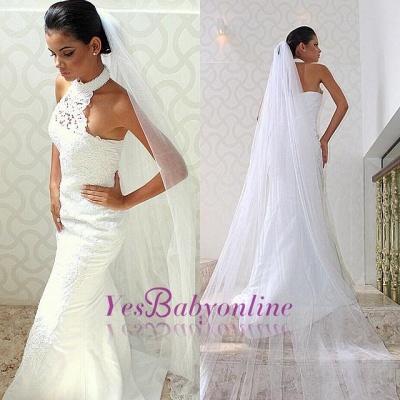 Sleeveless Court-train Chic Lace Halter Sexy Mermaid Wedding Dress_1