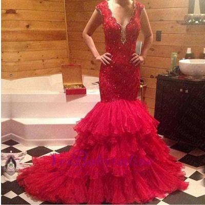 Tiered Beadings Red Mermaid Sleeveless V-Neck Prom Dress_1