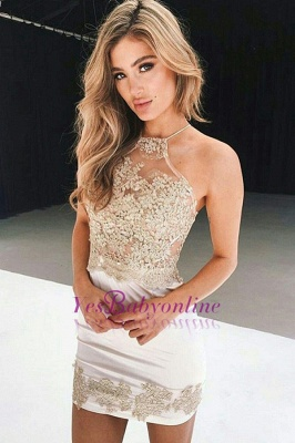 Sexy Halter Homecoming Dresses Sheer Lace Appliques Sheath Mini Cocktail Dress_1