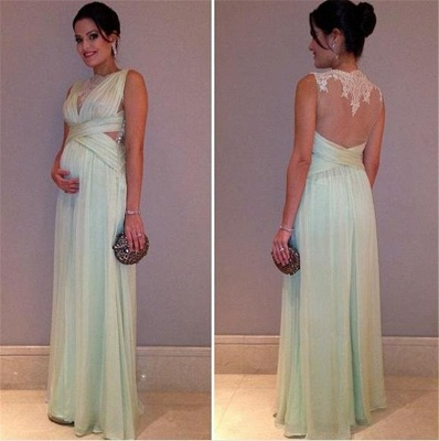 Long  Lace Sleeveless Elegant Maternity A-line Prom Dress_3