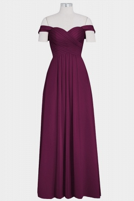 A Line Chiffon Off-the-Shoulder Sweetheart Floor Length Bridesmaid Dresses_3