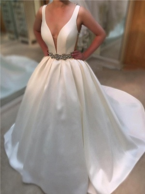 Princess Ball Gown Deep-V-Neck Wedding Dresses | Beading Open-Back Straps Bridal Gowns_1
