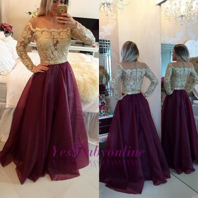 2019 Burgundy and Gold Long Sleeves Lace-Appliques A-line Prom Dresses_1