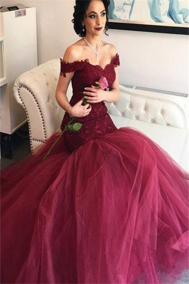 Burgundy Off-the-Shoulder Lace Newes  Mermaid Prom Dresses_2