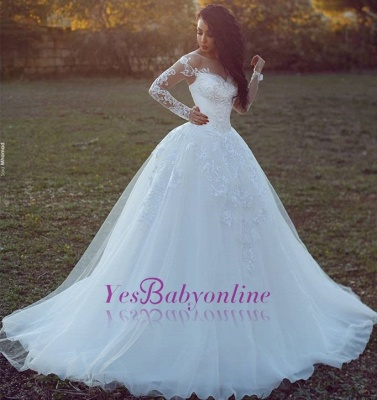 Tulle Glamorous Ball Gown Appliques Long Sleevess Wedding Dress_1
