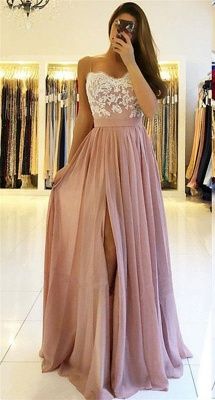 Spaghetti-Straps A-line Slit Prom Dresses | Sweetheart A-line Lace Evening Gowns_1