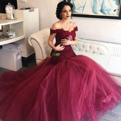 Burgundy Off-the-Shoulder Lace Newes  Mermaid Prom Dresses_3