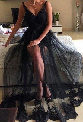 V-Neck Long Lace Sexy Black Prom Dresses | Sparkly Evening Dresses_2